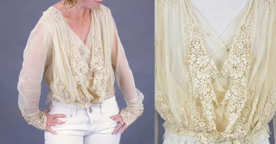 1900s Edwardian Embroidered Net Lace Blouse, Crea… - image 8
