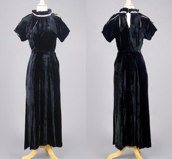Vintage 1930s Silk Velvet Dress, 30s Gown, Black S