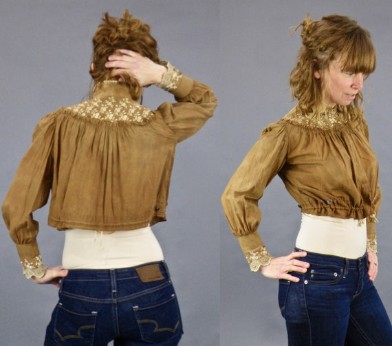 Antique 1900s Cinchable Blouse, Edwardian Embroidered Brown Cotton Cropped Blouse, Farm Girl Blouse
