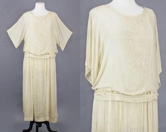 Antique 1910s 1920s Beaded Silk Dress, Ivory Edwardian Dress with Cold Shoulders, 20s Wedding Dress, Medium - Large