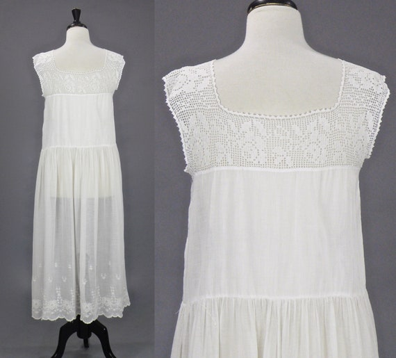 Vintage 1910s 20s Dress, Antique Embroidered Whit… - image 6