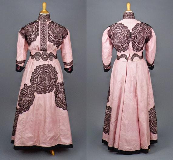 Antique 1900s Edwardian Dress, 3pc Striped Pink Silk & Chantilly Lace Edwardian Skirt / Blouse / Cummerbund Belt, M/L - L