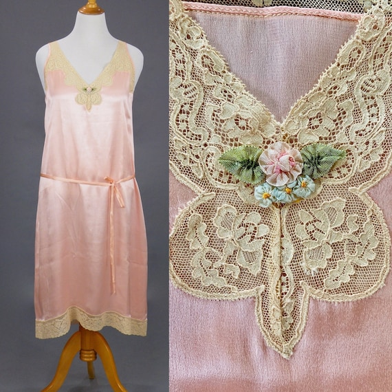 Vintage 1920s Nightgown, 20s Gown, Lace Trim Pink Silk Negligee Slip Dress with Ribbon Flowers, Large