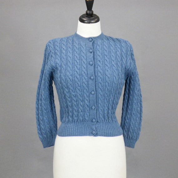 Vintage 1940s Blue Hand Knitted Wool Cardigan Sweater, McMullen British Crown Colony, S - M