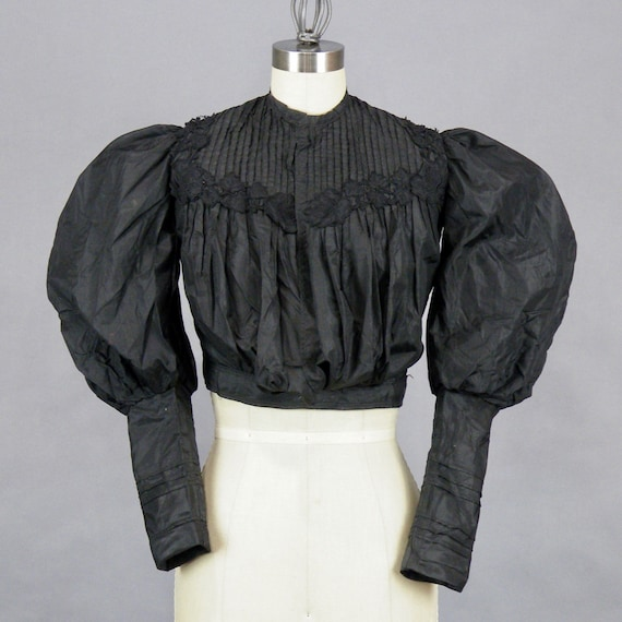 1890s Blouse with Dramatic Leg of Mutton Sleeves, Victorian Blouse, Antique Black Silk Taffeta Bodice with Floral Appliqués