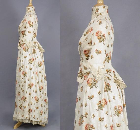 Rare Antique Victorian Floral Jacquard Duchesse S… - image 5