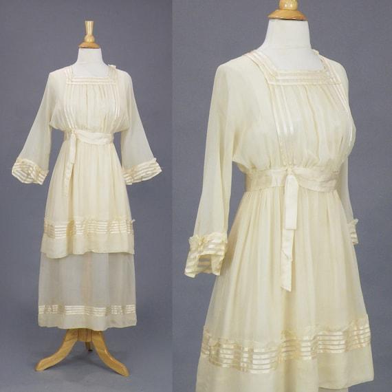 1910s Dress, Antique Cream Silk Ribbon Dress with Tiered Skirt, XS