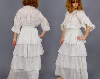 1900s Printed Cotton Edwardian Dress, 2pc Antique Skirt and Tunic Blouse, XXS