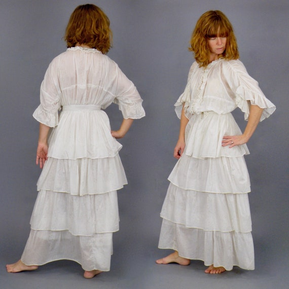 1900s Printed Cotton Edwardian Dress, 2pc Antique