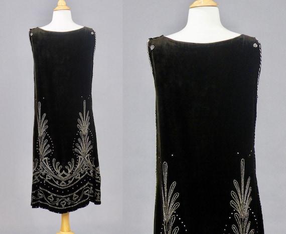 1920s Beaded Velvet Dress, Vintage 20s Dress, Roa… - image 4