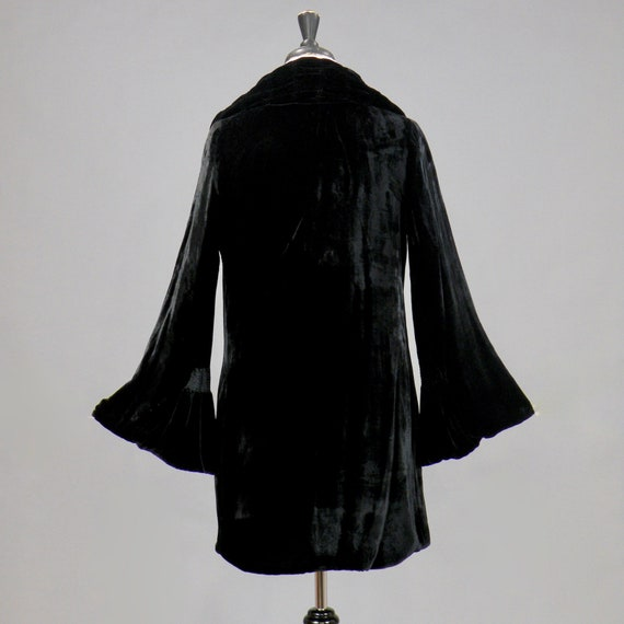 Vintage 1920s Silk Velvet Jacket, 20s Coat, Ruched Black Art Deco Jacket with Bell Sleeves, XS - S