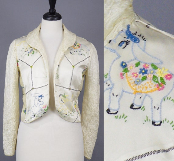 Vintage 1940s Embroidered Lamb Bed Jacket, 40s Lingerie Boudoir Jacket with Quilted Sleeves