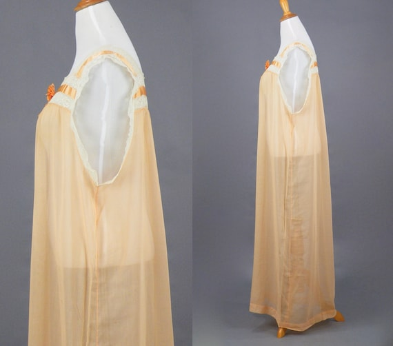 1910s 1920s Nightgown, XL Antique Peach Cotton Fi… - image 3