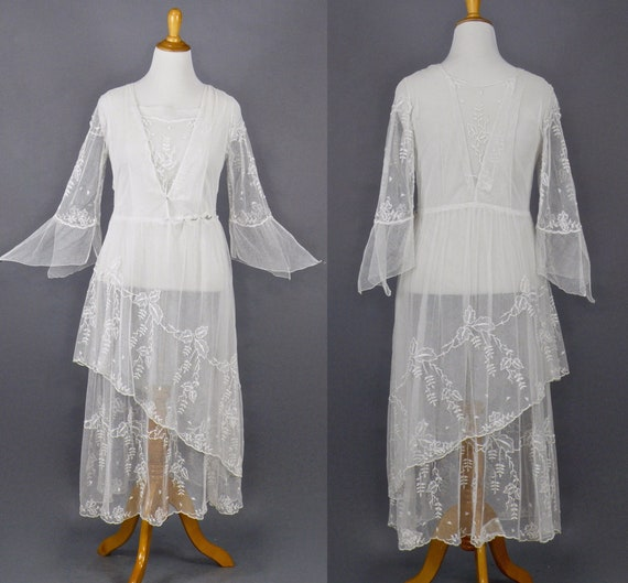 Edwardian Net Lace Dress, Antique 1910s Wedding Dress, Rare Larger Size