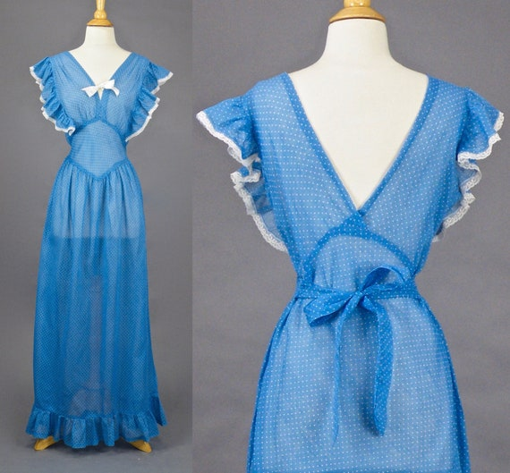 1930s Dress, Blue & White Polka Dot 30s Ruffled Summer Maxi Dress with Plunging Back