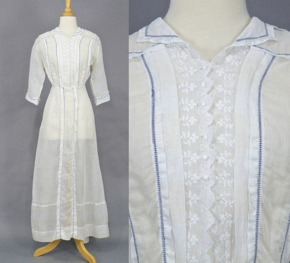 Edwardian Dress, Antique 1910s Striped White Cotto