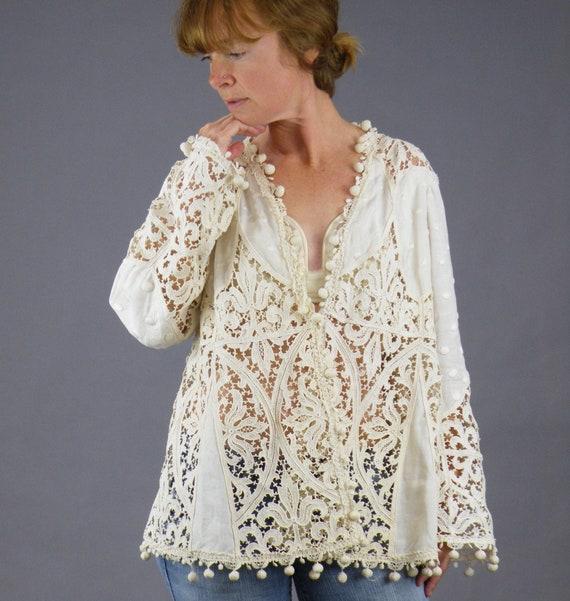 Edwardian Tape Lace Jacket, Antique 1910s Embroide
