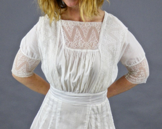 Edwardian 1910s White Cotton Lace Lingerie Dress, XXS