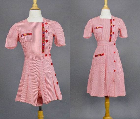 Vintage 1940s Romper and Skirt Set, 40s Playsuit, Red and White Striped Cotton Skirt and Romper Set, Fruit of the Loom, Small