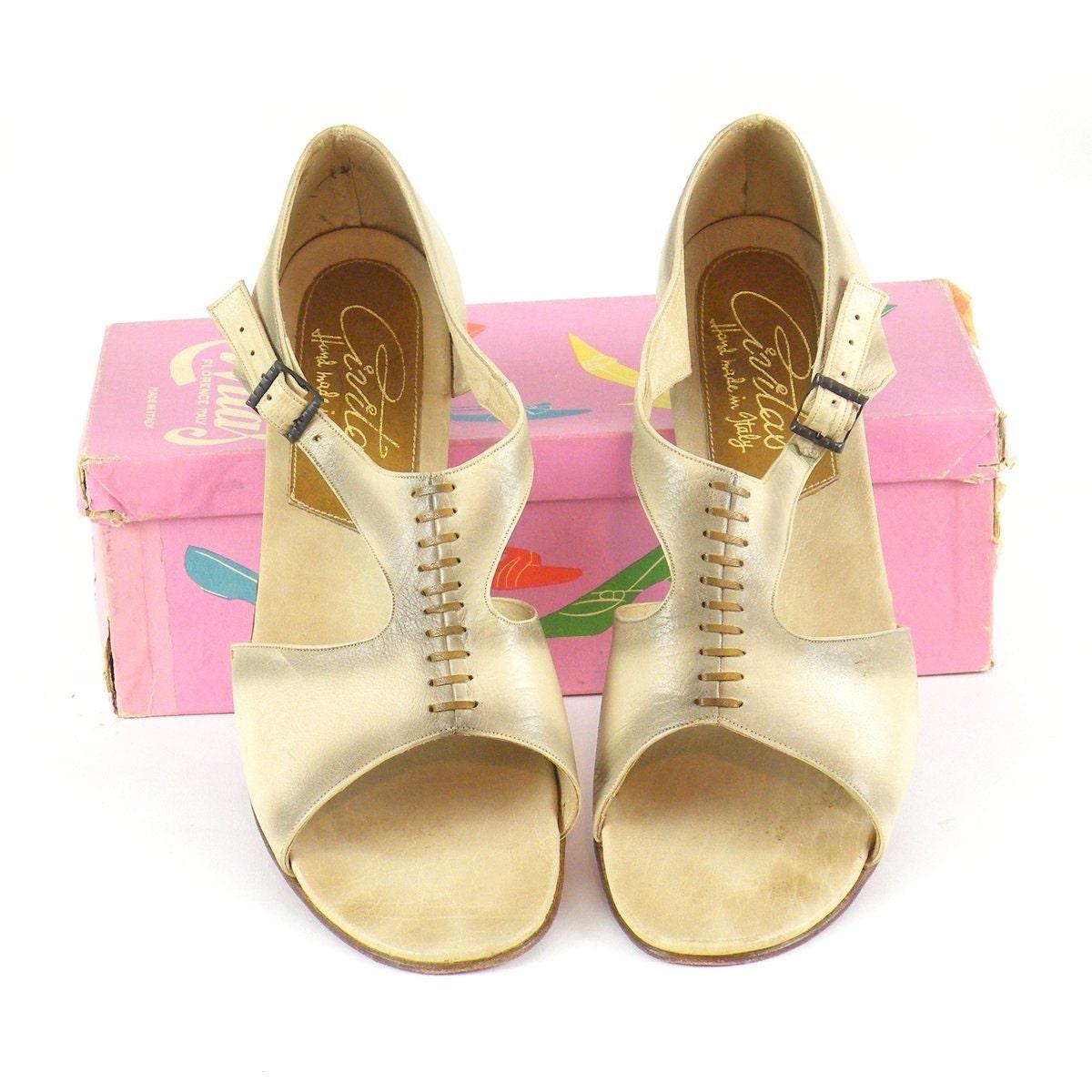 12 SandalsDeadstock Civitas Size 1970s Vintage 70s Flats Leather N Bohemian Italian DE9IH2