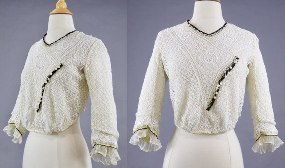 Antique 1900s Lace Blouse, Edwardian Gibson Girl … - image 2