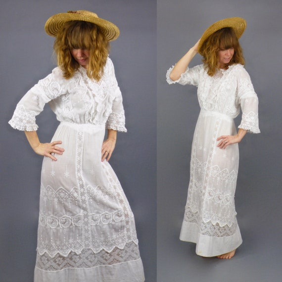 Antique Edwardian White Dress, 1910s Lingerie Dre… - image 5