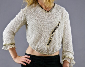 Antique 1900s Lace Blouse, Edwardian Gibson Girl Blouse