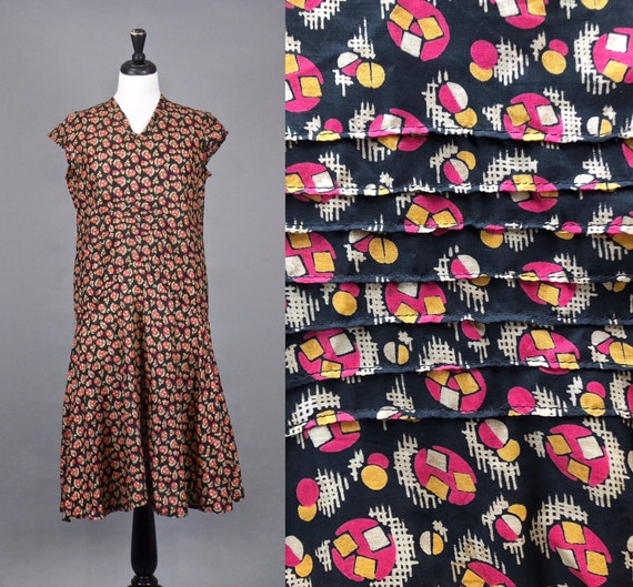 Vintage 1920s Print Dress, 20s Dress, Geometric Pr