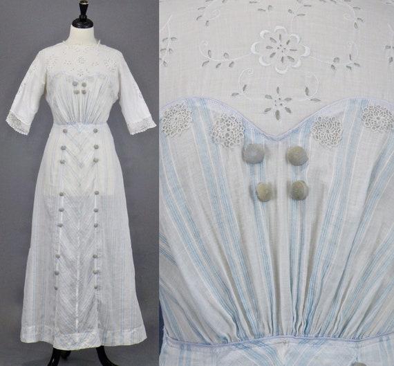 Antique Edwardian Striped White Cotton Eyelet Tea Dress, 1910s Dress, 27 Waist