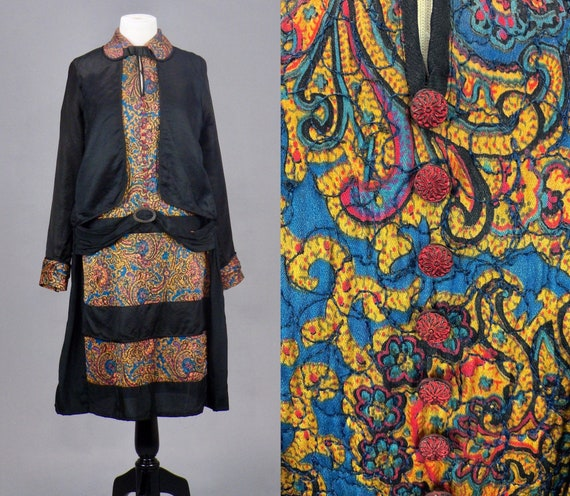 Vintage 1920s Quilted Silk Paisley Print Dress, Roaring 20s Dress, Antique 1920s Drop Waist Dress, Medium - M/L