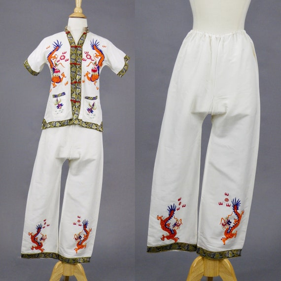 Vintage 1940s Embroidered Dragons Pajama Set, 40s