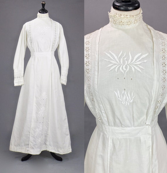 1910s White Embroidered Linen Dress, Edwardian Day Dress, Medium