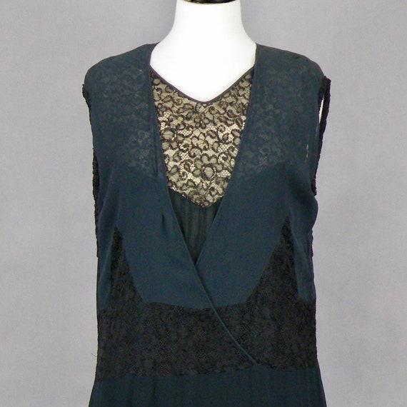 1930s Dress, Vintage 30s Black Silk Chiffon and L… - image 8