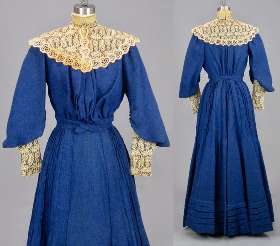 Antique 1900s Blue Edwardian Pigeon Breast Dress with Leg of Mutton Sleeves, XS