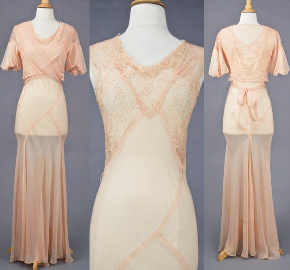 Vintage 1930s Blush Pink Bias Cut Gown and Wrap Bolero Jacket, Art Deco, S - S/M