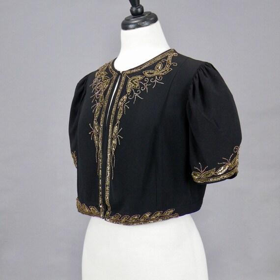 Vintage 1940s Beaded Sequin Crepe Bolero Jacket, … - image 3