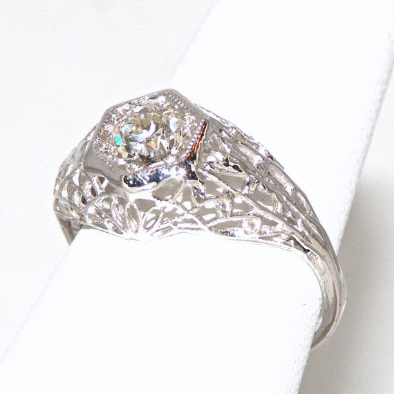 1920s Engagement Ring, .53 Carat Old European Cut Diamond Ring, Art Deco Filigree Ring, EGL Certified Size 5 3/4