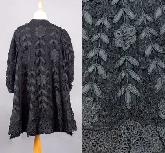Edwardian Black Tape Lace Evening Coat, 1910s - 1920 Lace Jacket, Large - XL