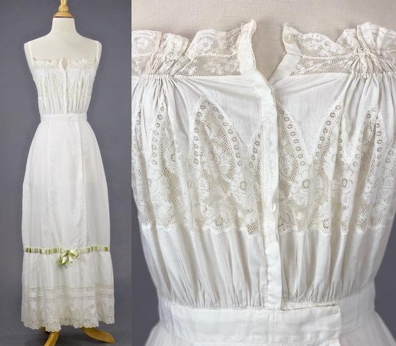 Antique 1900s 1910s White Cotton Lace Edwardian Princess Petticoat Lingerie Dress, XS