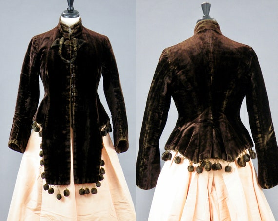 Antique 1880s Brown Velvet Victorian Mantle Jacket with Lappets and Padded Velvet Ball Trim, Small