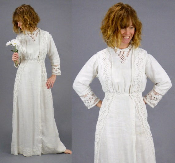 1900s Edwardian White Linen Torchon Lace Dress, Antique Day Dress