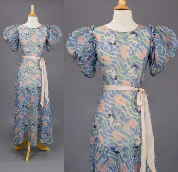 Vintage 1930s Sheer Floral Cotton Puff Sleeve Gown Summer Maxi Dress, Small
