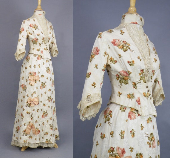 Rare Antique Victorian Floral Jacquard Duchesse S… - image 7
