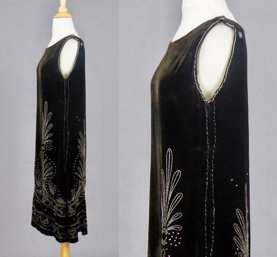 1920s Beaded Velvet Dress, Vintage 20s Dress, Roa… - image 3