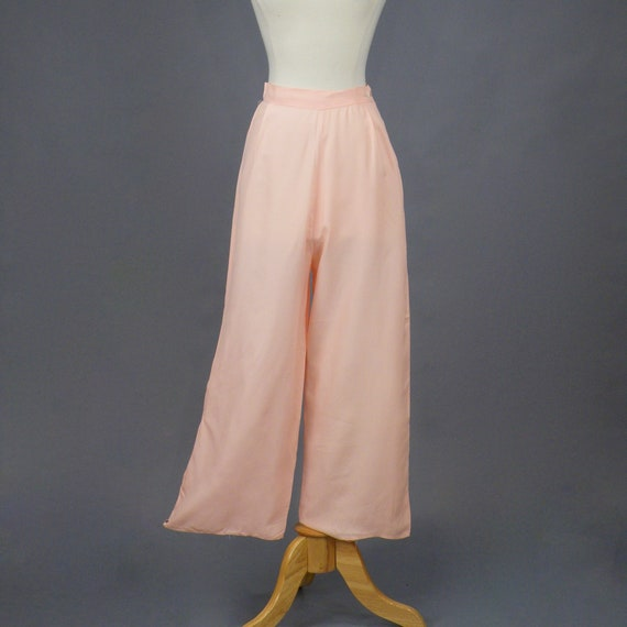 Vintage 1930s Pink Rayon Pajama Pants, 30s Wide Le