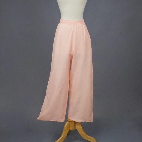 """Vintage 1930s Pink Rayon Pajama Pants, 30s Wide Leg Lounge Pants, 24 - 26"""" Waist"""