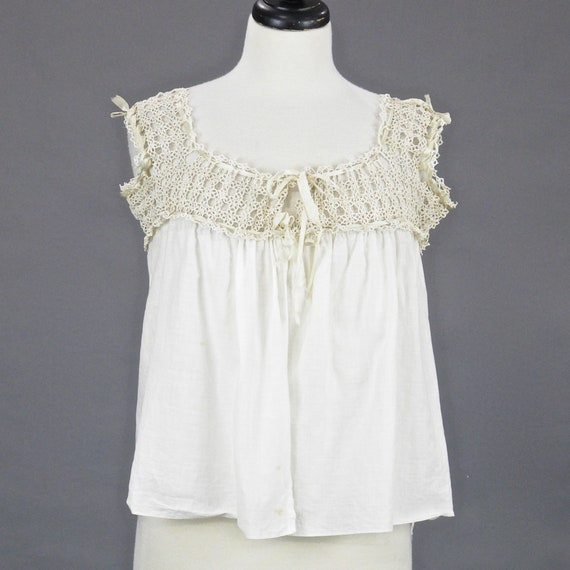 Antique White Cotton Tatted Lace Edwardian Camisole Top, Medium