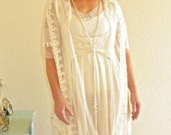 Edwardian Wedding Dress, Titanic Era 1910s 1920s Bohemian Wedding Dress, Beaded Silk and Lace Antique Dress, Downton Abbey Dress