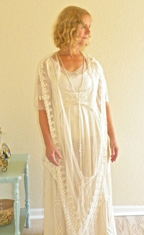 Antique Edwardian Wedding Dress, Titanic Era 1910s 1920s Beaded Silk and Lace Bohemian Dress, Downton Abbey