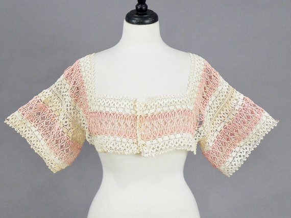 Antique Vintage Pink Embroidered Crochet Lace Cropped Bolero Jacket